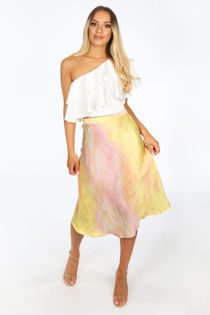 Yellow Tie Dye Satine Bias Cut Midi Skirt