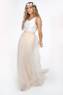 Full Length Maxi Tulle Skirt In Beige