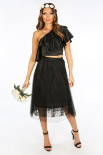 Bridal Black Pleated Lace Tulle Skirt