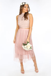 Bridal Pink Pleated Lace Tulle Skirt