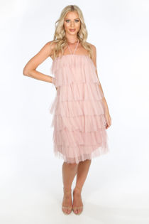 Pink Layered Tulle Halter Neck Dress