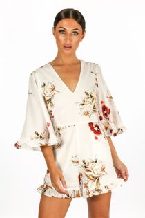 Floral V Neck Playsuit With Frill Hem In White