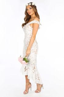 White Contrast Crochet Midi Fishtail Dress