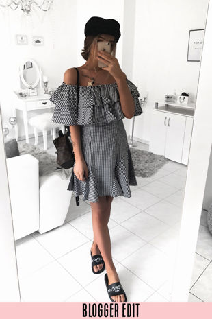 Gingham Off The Shoulder Frill Dress In Black