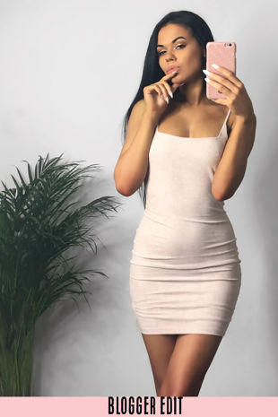 Faux Suede Cami Bodycon Dress In Beige