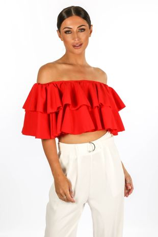 Red Off The Shoulder Full Frill Crop Top