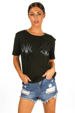 Eyelash Feather T-Shirt In Black