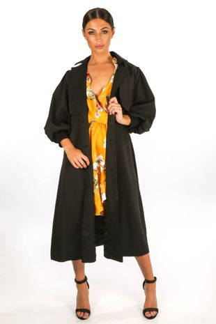 Black Puff Sleeve Trench coat