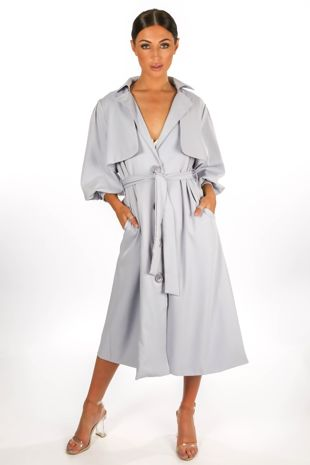 Light Blue Puff Sleeve Trench coat