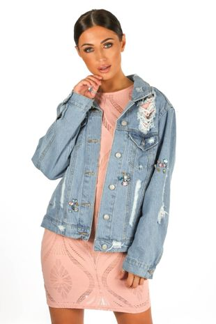 Jewel Embellished Distressed Denim Jacket