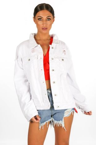 Distressed Denim Jacket In White
