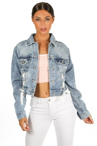 Cropped Denim Jacket With Lace Up Detail
