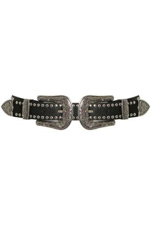 Double Buckle Studded Black Belt