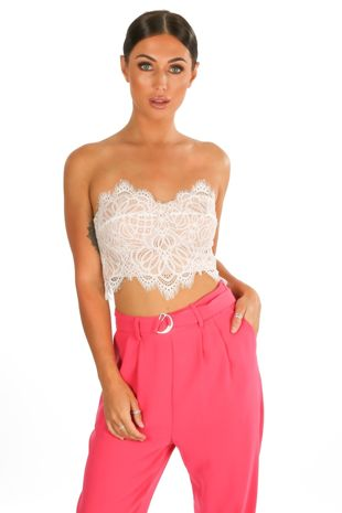 White Contrast Lace Bandeau Crop Top