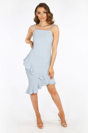 Blue Midi Frill Hem Day Dress