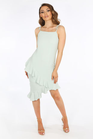 Seafoam Midi Frill Hem Day Dress