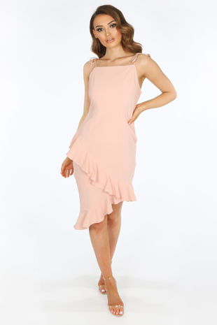 Pink Midi Frill Hem Day Dress