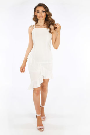 White Midi Frill Hem Day Dress