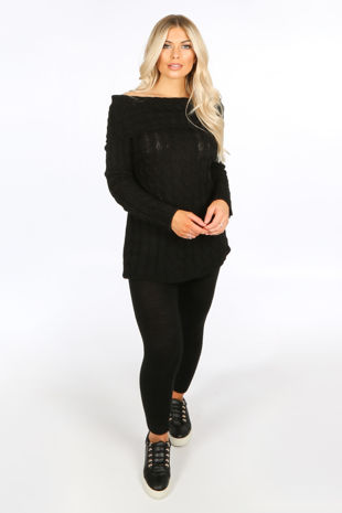 Black Bardot Knitted Jumper & Leggings Set