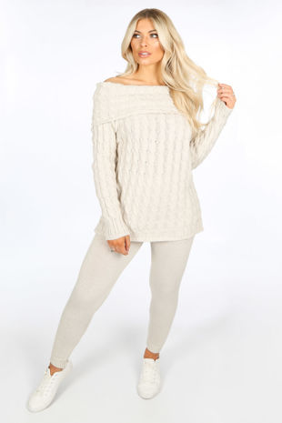 Beige Bardot Knitted Jumper & Leggings Set