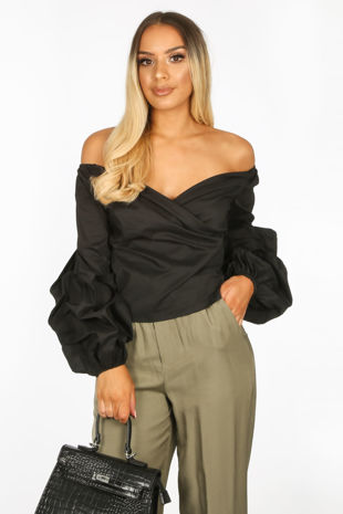 Bardot Puff Sleeve Blouse In Black
