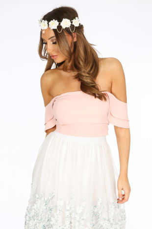 Pink Off The Shoulder Tailored Crop Top