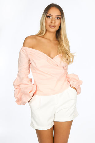 Bardot Puff Sleeve Blouse In Pink