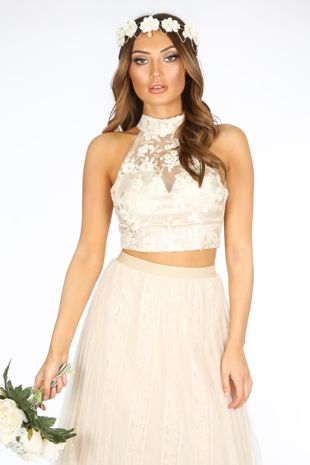 Cream High Neck Embroidered Crop Top