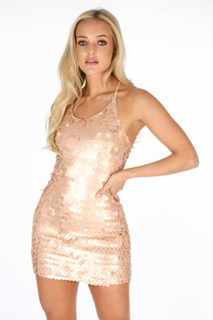 Gold Large Sequin Mini Cami Dress