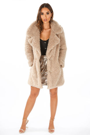 Beige Super Soft Borg Coat