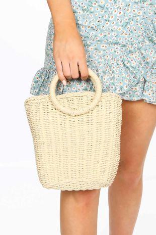 Beige Wicker Bucket Bag