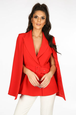 Red Belted Cape Blazer