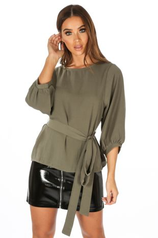 Long Sleeve Belted Blouse In Khaki