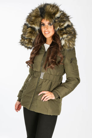 Belted Puffer Jacket With Faux Fur In Khaki
