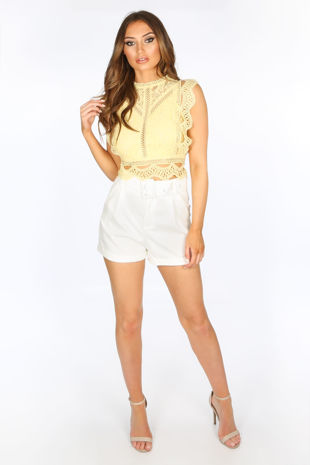 Tailored Belted Shorts In White