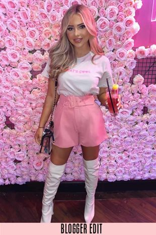 Belted Tailored Shorts In Dusky Pink