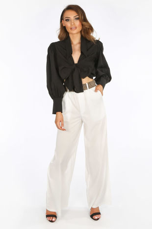 White Belted Wide Leg Trouser