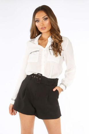 Belted Tailored Shorts In Black