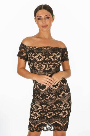Black Bardot Contrast Crochet Mini Dress