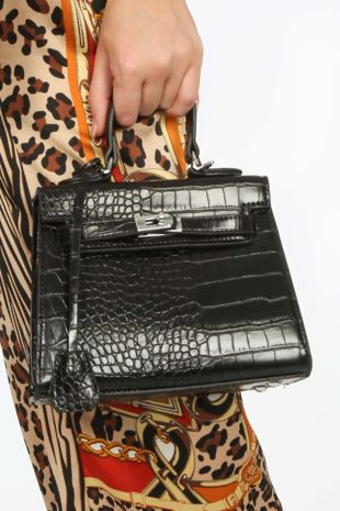 Black Mini Faux Croc Skin Tote Bag