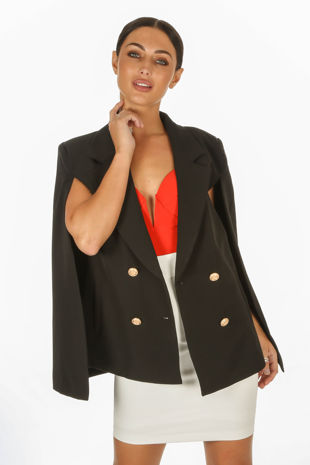Black Double Breasted Cape Blazer