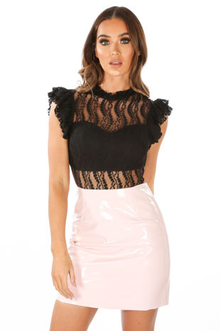 Black High Neck Lace Bodysuit