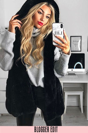Black Luxe Faux Fur Hooded Gilet