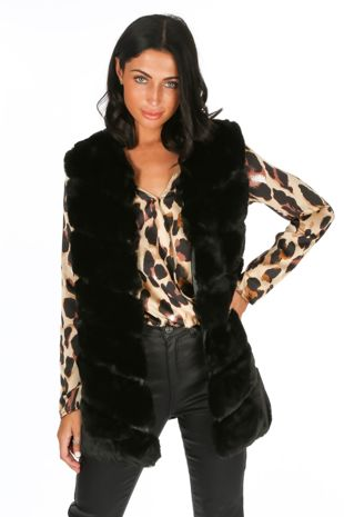 Black Luxury Long Faux Fur Gilet
