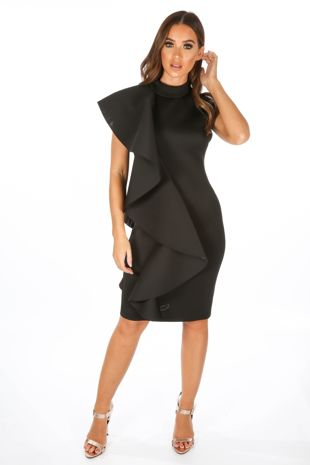 Black Neoprene Frill Shoulder Midi Dress