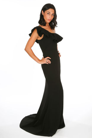 Black One Shoulder Frill Maxi Dress