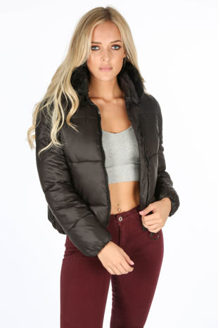 Black Puffer Bomber Jacket With Faux Fur Collar
