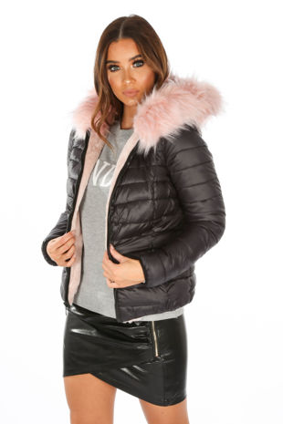 Black Reversible Puffer Faux Fur Jacket