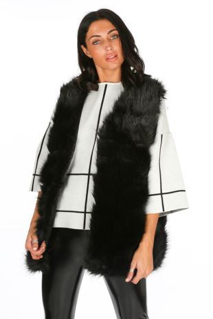 Black Soft Faux Fur Gilet
