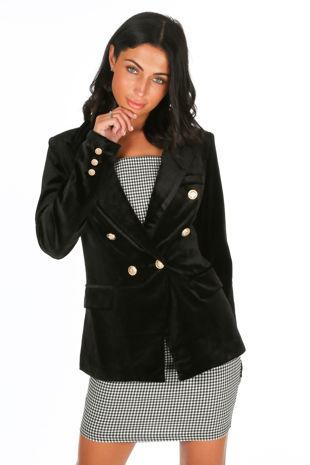 Black Velvet Double Breasted Tailored Blazer